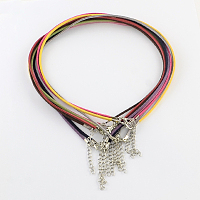"""ARRICRAFT 100 Strands 2mm Lace Faux Leather Suede Beading Cords Velvet String with Iron Extension Chains and Lobster Claw Clasps for Necklace Making Mixed Color 19.3"""""""