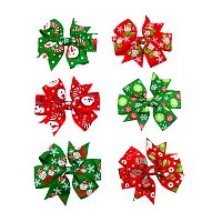 ArricraftChristmas Grosgrain Alligator Hair Clips, with Iron Alligator Clips, Bowknot, Mixed Color, 80x55mm