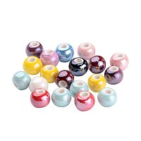 ARRICRAFT 100 Pcs Mixed Color Handmade Pearlized Porcelain Beads 8mm for Jewelry Making