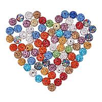 NBEADS 100pcs 10mm Round Polymer Clay Pave Disco Rhinestone Beads for Crystal Shamballa Jewelry Mixed Color