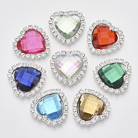 ARRICRAFT Shining Flat Back Faceted Heart Acrylic Rhinestone Cabochons, with Grade A Crystal Rhinestones and Brass Cabochon Settings, Mixed Color, 22x22x5mm