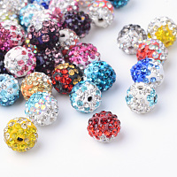 Two-Tone Color Handmade Polymer Clay Disco Ball Beads, with Glass Rhinestone, Mixed Color, 9~10mm, Hole: 2mm