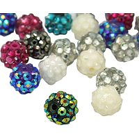 Pandahall Elite About 100 Pcs 10mm Chunky Bubblegum Beads Resin Rhinestone Shamballa Bead Round Spacer Bead for Jewelry Making, Assorted Color