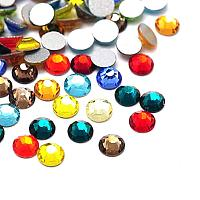 NBEADS About 1440pcs/bag Mixed Color Glass Flat Back Rhinestone, Half Round Grade A Back Plated Faceted Gems Stones, 3.8~4mm