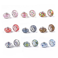 Arricraft Resin European Beads, with Antique Golden Plated Alloy Findings, Large Hole Beads, Cadmium Free & Lead Free, Cube with Flower, Mixed Color, 22.5x19.5x19.5mm, Hole: 6mm