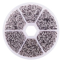 PandaHall Elite Diameter 4mm to 10mm 304 Stainless Steel Closed But not Soldered Jump Rings for Jewelry Making, about 900pcs/box