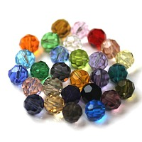 Arricraft Imitation Austrian Crystal Beads, Grade AAA, Faceted, Round, Mixed Color, 6mm, Hole: 0.7~0.9mm