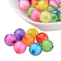 NBEADS 580pcs/500g 12mm Random Mixed Color Transparent Acrylic Beads Round Faceted Loose Beads Spacer Beads for Jewelry Making