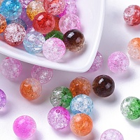 Arricraft Two Tone Transparent Crackle Acrylic Beads, Half Spray Painted, Round, Mixed Color, 12mm, Hole: 2.5mm
