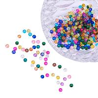 Pandahal 400pcs 4mm Round Crackle Glass Beads, Mixed Color, Hole: 1.1~1.3mm