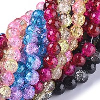 Arricraft Two Tone Crackle Glass Beads, Round, Mixed Color, 8mm, Hole: 1.3~1.6mm