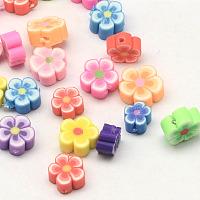 ARRICRAFT Handmade Polymer Clay Flower Plum Blossom Beads, Mixed Color, 5.5~8x4~5mm, Hole: 1mm