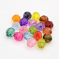 Arricraft Faceted Transparent Acrylic Round Beads, Mixed Color, 8mm, Hole: 1.5mm
