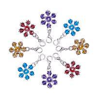 ARRICRAFT 10pcs Mixed Christmas Snowflake Zinc Alloy Enamel Pendants with Brass Lobster Claw Clasps