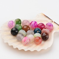 Nbeads Faceted Round Dyed Natural Striped Agate/Banded Agate Beads, Mixed Color, 6mm, Hole: 1mm