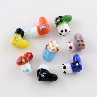 Arricraft Handmade Lampwork Beads, Boot for Christmas, Mixed Color, 15x9.5x15mm, Hole: 2mm