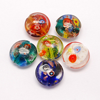 ARRICRAFT Handmade Gold Sand Lampwork Beads, with Millefiori Glass, Flat Round, Mixed Color, 20x10mm, Hole: 1.5mm