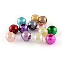 Arricraft ABS Plastic Imitation Pearl Rondelle European Beads, with Silver Color Plated Brass Double Cores, Large Hole Beads, Mixed Color, 14~15x9mm, Hole: 5mm
