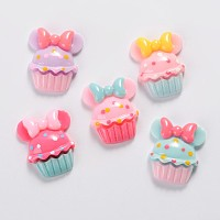 ARRICRAFT Scrapbook Embellishments Flatback Cute Cupcake with Bows Plastic Resin Cabochons, Mixed Color, 20x16x5mm