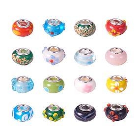 ARRICRAFT 100PCS 14x9mm Mixed Styles Handmade Lampwork European Style Beads with Plating Silver Double Core, Mixed Color