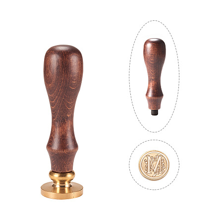 PandaHall Elite Wax Seal Stamp Vintage Retro Brass Head Wooden Handle Alphabet Letter M Initial Wax Classic Sealing Stamp