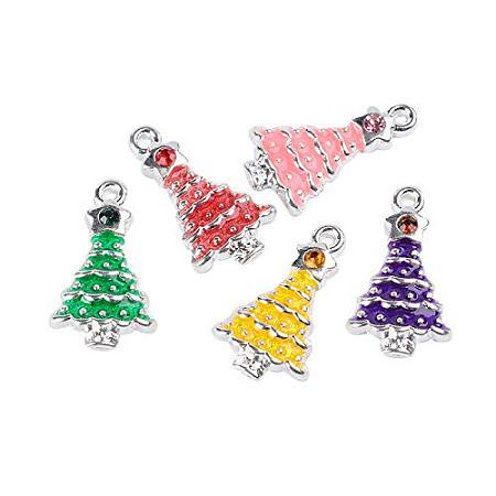 NBEADS 100 Pcs Random Mixed Color Christmas Tree Alloy Enamel Pendants Rhinestones Necklace Jewelry Making