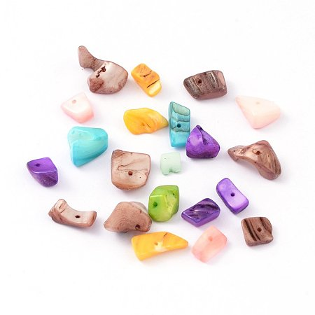 NBEADS 500g Freshwater Shell Chips Beads, Shell Shards, Dyed, Mixed Color, 8~17x5~7x4~6mm, Hole: 1mm; about 640pcs/500g