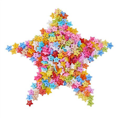 NBEADS 1000 Pcs Acrylic Buttons, 2-Hole, Dyed, Star, Mixed Color, 12x2mm, Hole: 1mm