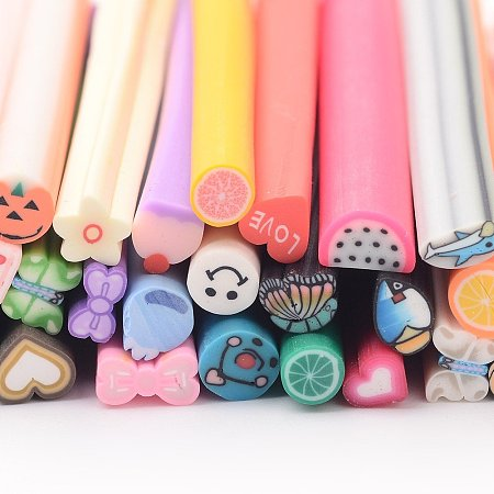 NBEADS 50PCS Mixed Styles Fido Polymer Clay Cane Slices Nail Art Stickers Nail Art Decoration
