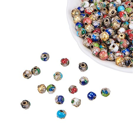 NBEADS 200PCS Random Mixed Color Handmade Vintage Beads, Filigree Cloisonne Round Loose Charm Beads for Bracelet Jewelry Making Findings
