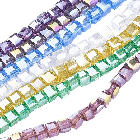 NBEADS 10 Strands AB Color Plated Faceted Cube Mixed Color Electroplate Glass Beads Strands with 4x4x4mm,Hole: 1mm,about 100pcs/strand