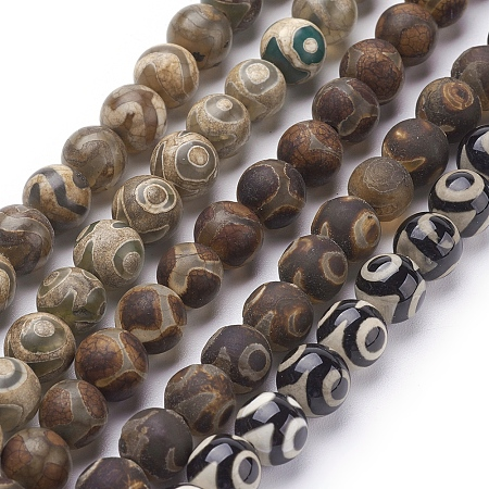 NBEADS Natural Agate Beads Strands, Dyed,  Round, Mixed Color, 8mm in diameter, Hole: 1mm