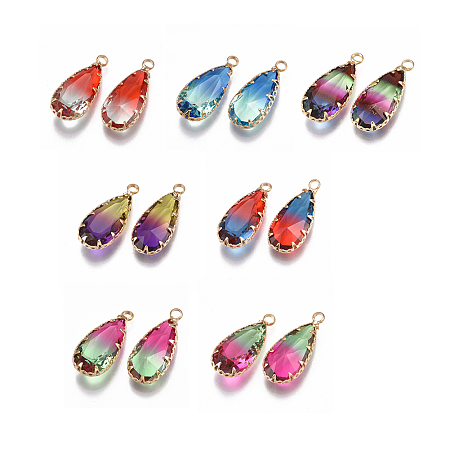 NBEADS Two Tone Glass Pendants, with Brass Findings, Faceted, Teardrop, Golden, Mixed Color, 24x10.5x6mm, Hole: 1.5mm