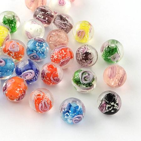 ARRICRAFT Handmade Luminous Inner Flower Lampwork Beads, Round, Mixed Color, 9~10mm, Hole: 1~2mm