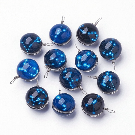 NBEADS Luminous Glass Pendants, with Platinum Tone Brass Findings, Round with Constellation/Zodiac Sign, Mixed, 28~29x18~19mm, Hole: 4x5mm