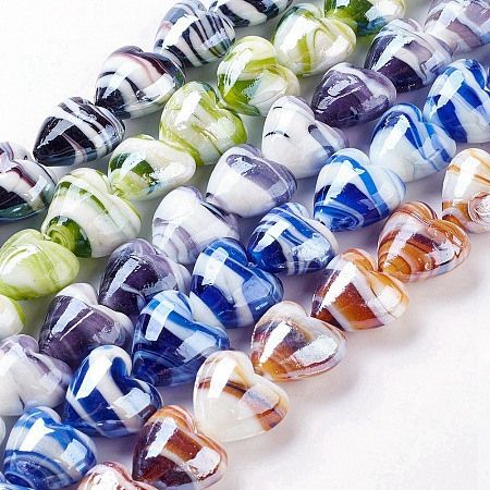 NBEADS Handmade Lampwork Beads, Mother's Day Jewelry Making, Heart, Colorful, 20x20mm, Hole: 2mm