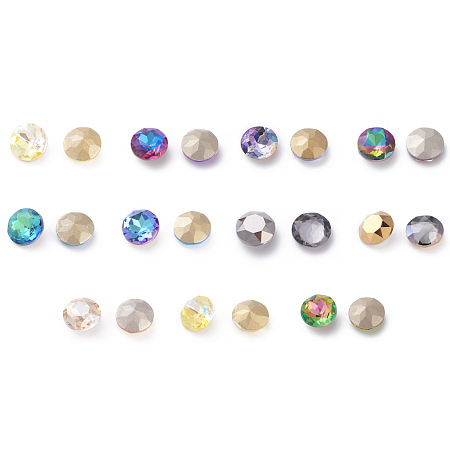 K9 Glass Rhinestone Cabochons, Nail Art Decoration Accessories, Flat Round, Mixed Color, 8mm
