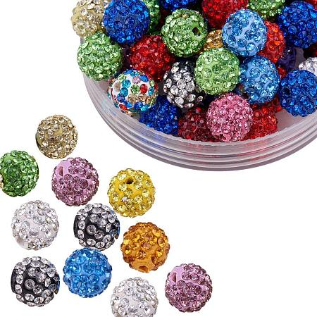 ARRICRAFT 100 Pcs 10mm Mixed Color Shamballa Pave Disco Ball Clay Beads, Polymer Clay Rhinestone Beads Round Charms Jewelry Makings