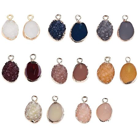 NBEADS 100 Pcs Electroplate Druzy Resin Pendants with 1mm Hole, Light Gold Oval Resin Charm Pendants with Iron Findings for DIY Necklace Bracelet Jewelry Making