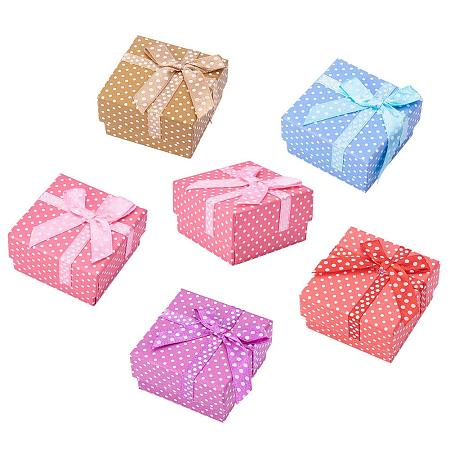 ARRICRAFT 12Pcs Cardboard Small Jewelry Boxes Gift Packaging Boxes with Cotton Filled 51x51x31mm for Earring, Ring, Bracelet and Necklace Mixed Color