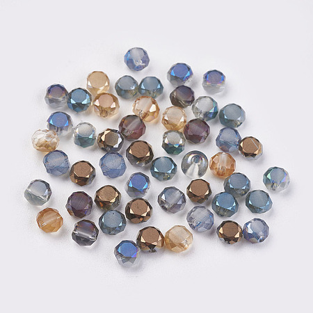 NBEADS 50 Pcs Random Mixed Color Crystal Faceted Glass Beads Electroplate Loose Beads for Jewelry Making
