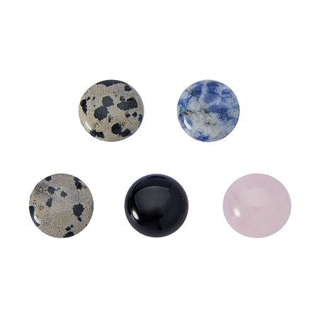 NBEADS 5 Pcs 15mm Multi-Color Natural Gemstone Round Cab Cabochon for Jewelry Making Beads Cabs Findings, Random Color