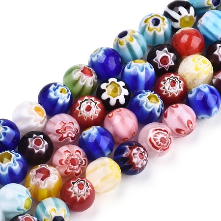 ARRICRAFT Handmade Millefiori Glass Round Bead Strands, Mixed Color, 8mm, Hole: 1mm, about 52pcs/strand, 16 inches