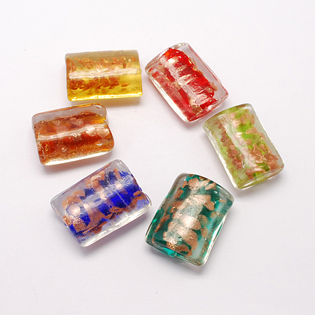 NBEADS Handmade Gold Sand Lampwork Beads, Rectangle, Mixed Color, 30x22x13mm, Hole: 2mm