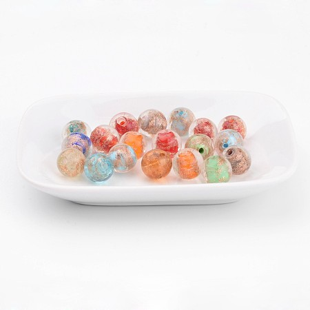 NBEADS Mixed Color Round Handmade Lampwork Gold Sand Beads, Size: about 12mm in diameter, hole: 2mm