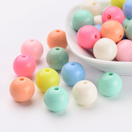 ARRICRAFT 14mm Multicolor Solid Chunky Bubblegum Acrylic Ball Beads for Jewelry Making