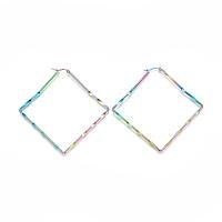 NBEADS 304 Stainless Steel Geometric Hoop Earrings, Hypoallergenic Earrings, Rhombus, Multi-Color, 12 Gauge, 78x77x2mm, Pin: 1x0.6mm