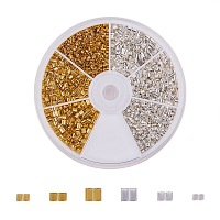 PandaHall Elite 1 Box Brass Tube Crimp Beads Sets in 3 Sizes for Jewelry Making Mixed Color