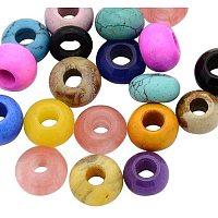 20 Pcs 12mm Mixed Color Rondelle Gemstone European Beads, Large Hole Beads, Rondelle