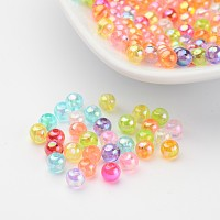 Arricraft Transparent AB Color Acrylic Beads, Round, Mixed Color, 4mm, Hole: 1.5mm